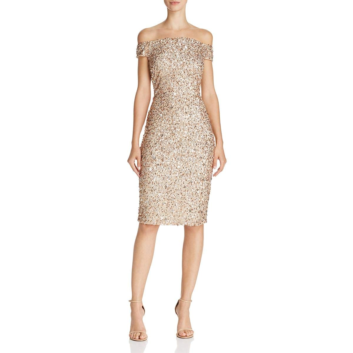 Champagne Silver Adrianna Papell Womens Sequined OffTheShoulder Cocktail Dress