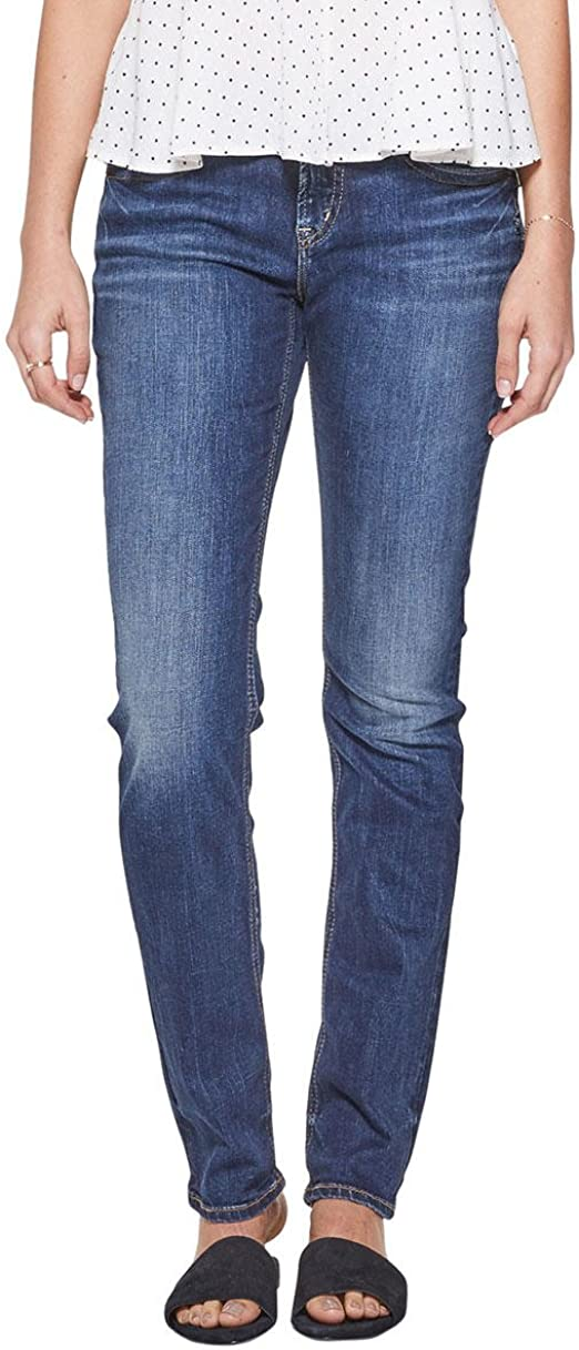 Womens Elyse Relaxed Fit Mid Rise Straight Leg Silver Jeans Co