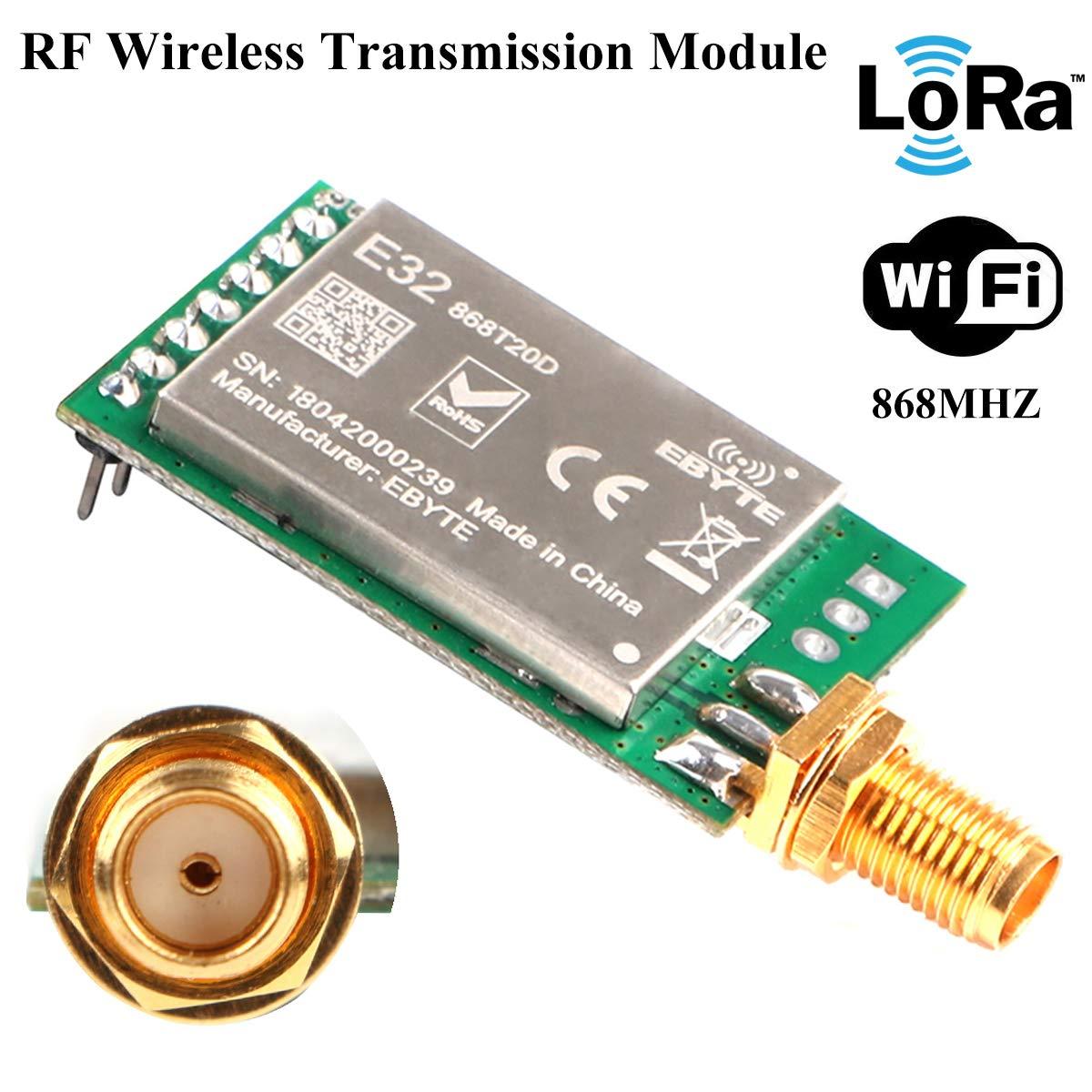 MakerHawk RF Wireless Transmission Module 868 MHZ LoRa Spread-spectrum Communication, 20dBm 100mW Measured Distance 3000M UART SX1276 RF Receiver Transmitter, Super Anti-interference Performance
