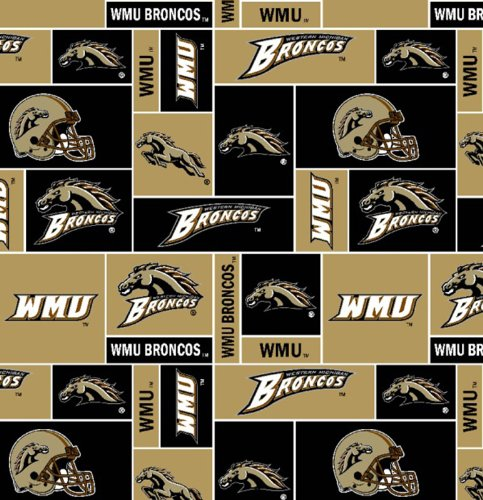 College Western Michigan University Broncos Print Fleece Fabric By the (University Fleece Fabric)