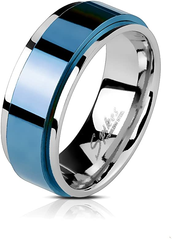 BlackAmazement acero inoxidable anillo giratorio azul Blue IP ...
