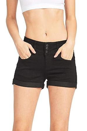 bd965b454 Wax Women's Juniors Stetchy Mid Rise Denim Shorts at Amazon Women's ...