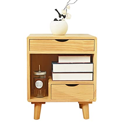 Nightstand Bedroom Lockers Solid Wood Storage Cabinets Mini Pine Cabinet(45  38 55cm) Bedside