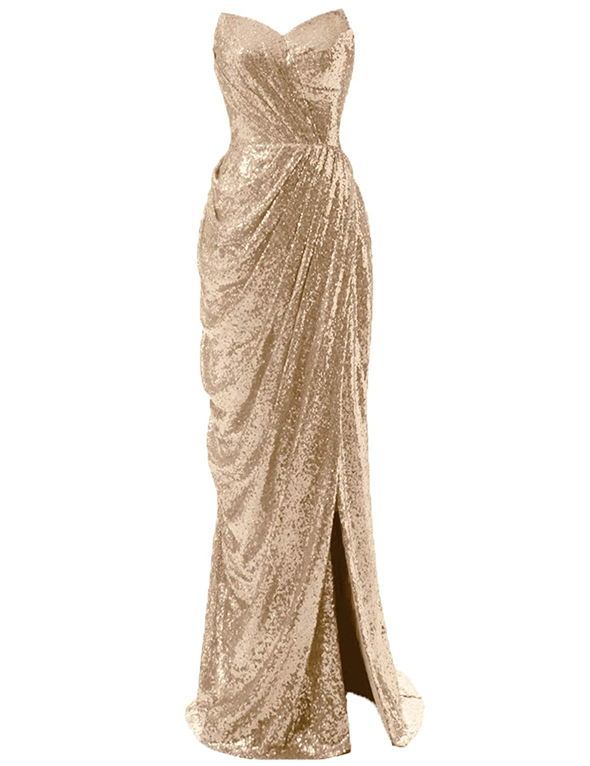 Champagne CIRCLEWLD Sweetheart Ruched Sequin Gown with Side Slit Long Prom Evening Dresses Bridesmaid Dress E195