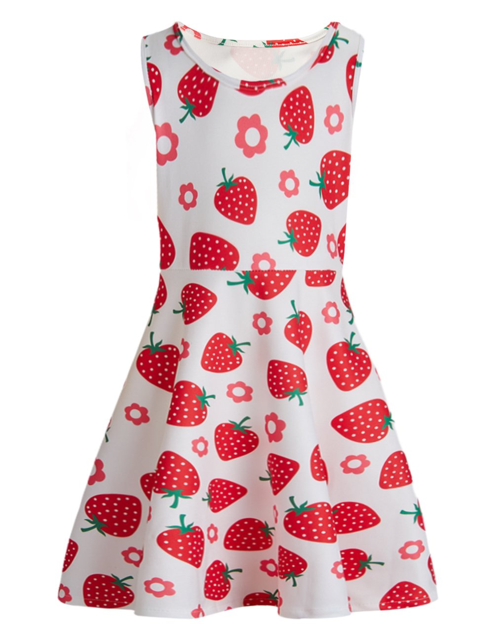 BFUSTYLE Strawberry Dress Fashoin Little Girls Crew-Neck Tunic Skater Playwear Dress Sleeveless Flare Dress in Summer (L,Strawberry)