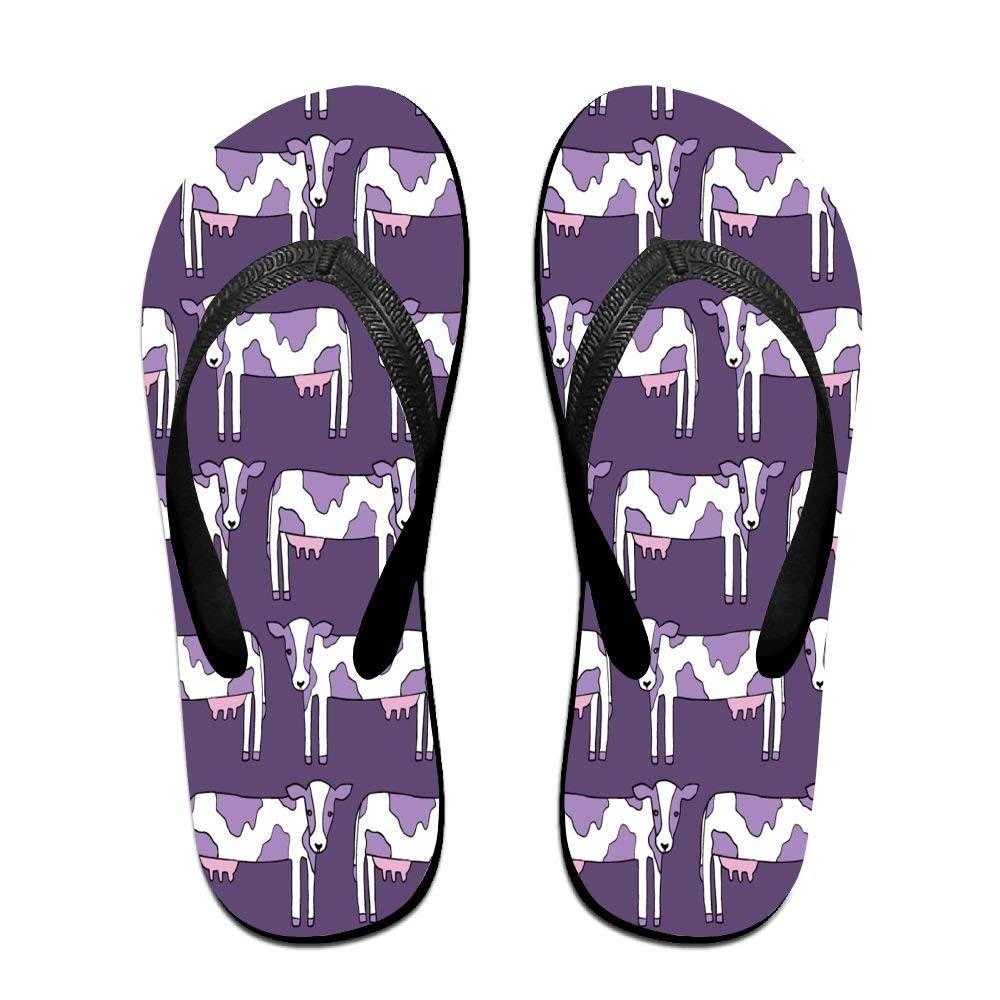 Flip Fl Purple Cow Pattern Unisex Trendy Print ippers Beach Sanl