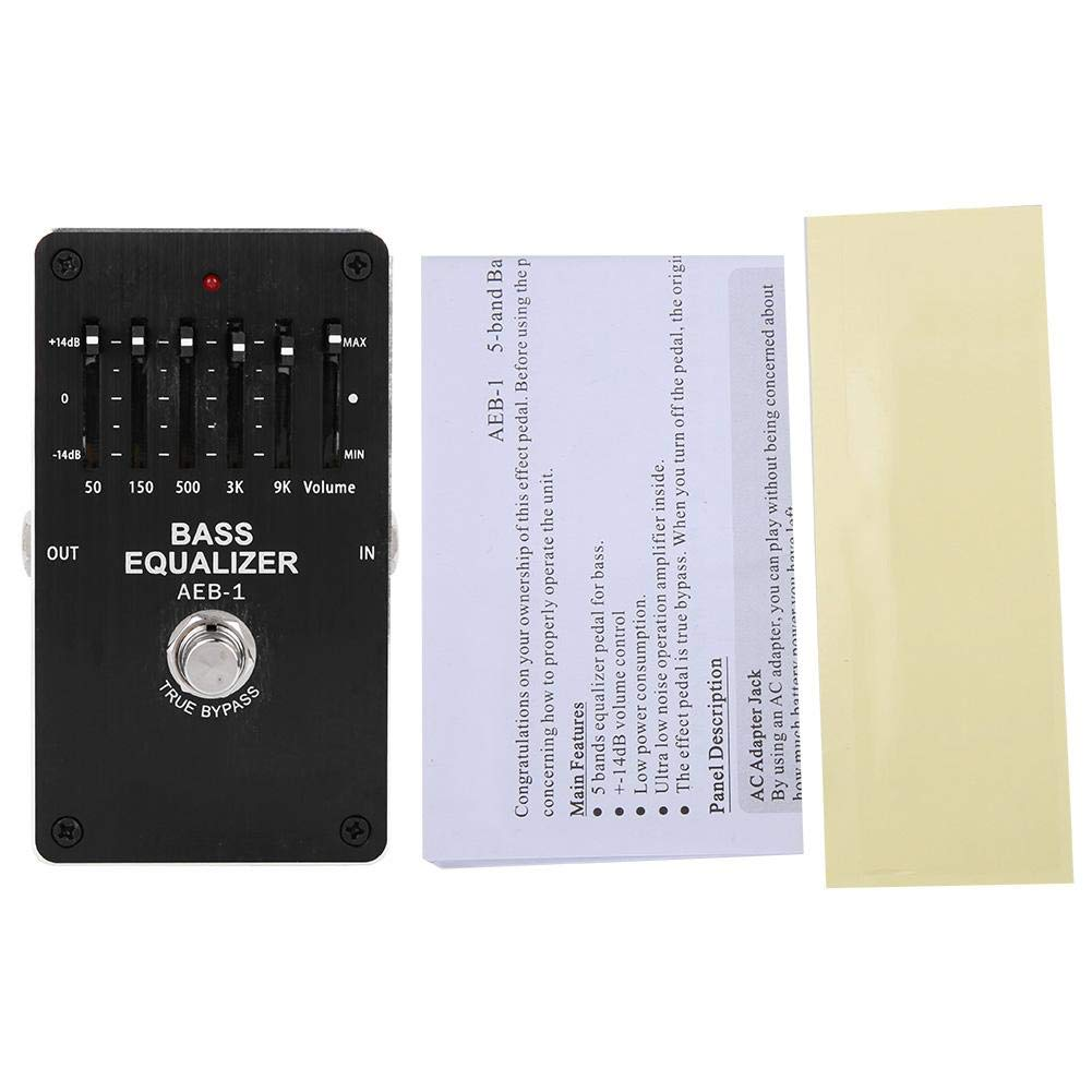 Guitar Effects Pedal,Mini Portable 5 Band Equalizer Tone Control Single Electric Pedal Bass Effector Pedals,Black.