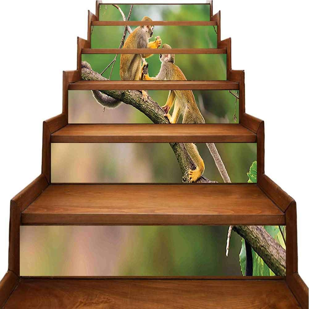 Staircase Stickers Two Common Squirrel Monkeys in Jungle Forest Nature Wilderness Amazon Image Green Brown Removable Waterproof Wallpaper Waterproof Home Decor, W39.3 x H7 inch