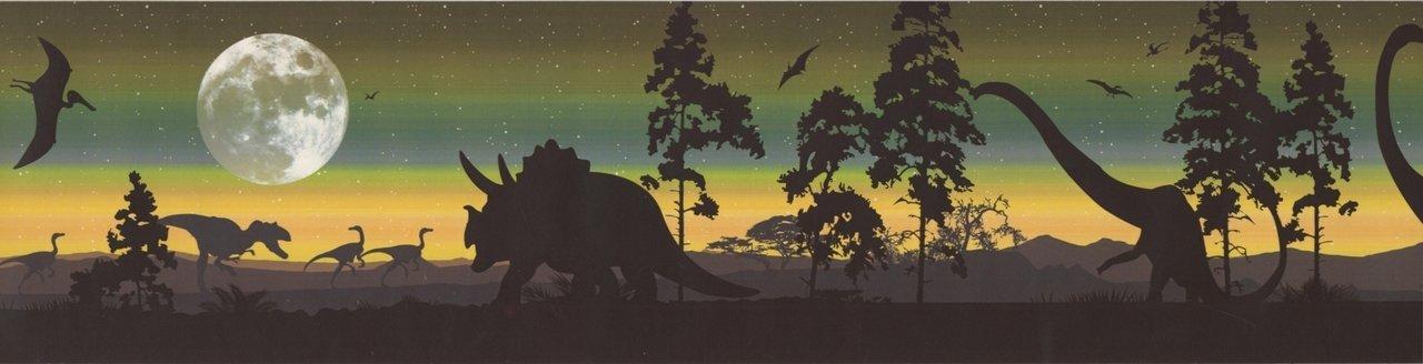Dinosaur Silhouettes (Sage) Mural-Style KP1234MB Wallpaper Border