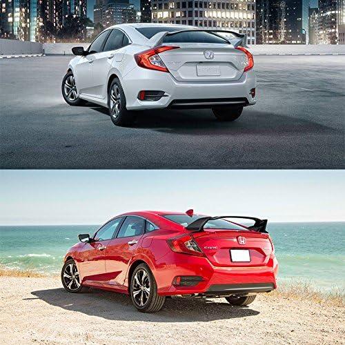 TR Unpainted ABS Rear Spoiler Wing Deck Lid IKON MOTORSPORTS Trunk Spoiler Compatible With 2016-2020 Honda Civic 4Dr Sedan