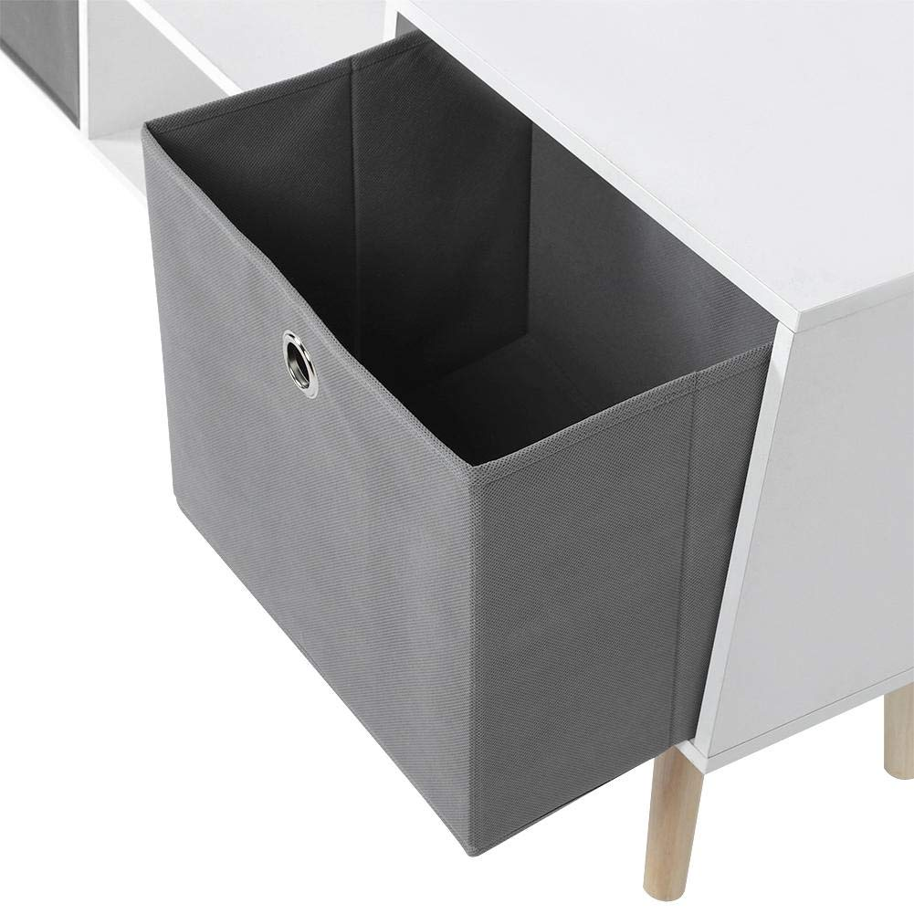 Mesita de Centro de Hogar 110 x 30 x 50cm Mesa Lateral con 2 Caj/óns Extra/íble Mesa de Caf/é con Compartimento Abierto para Sala de Estar Sal/ón