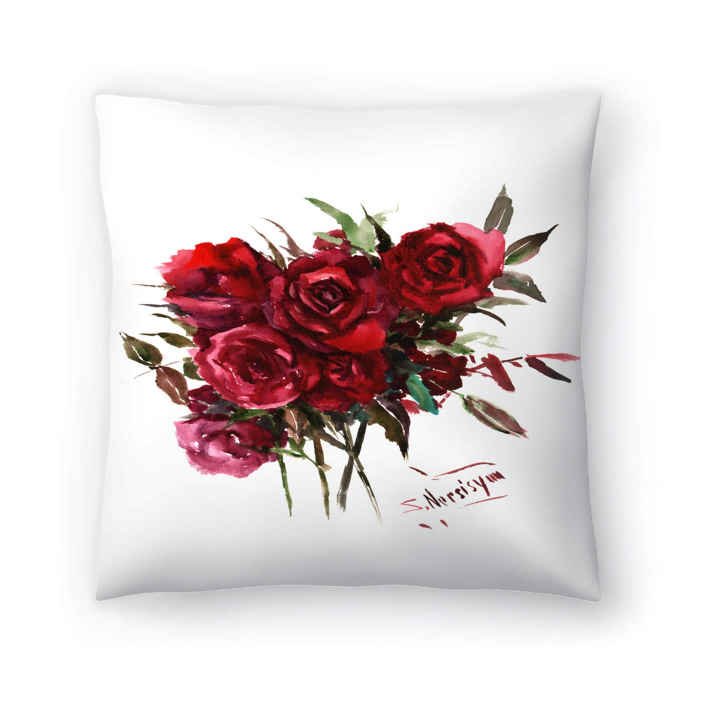 Buy American Flat Deep Red Burgundy Roses Pillow By Suren Nersisyan 20 X 20 Online At Low Prices In India Amazon In