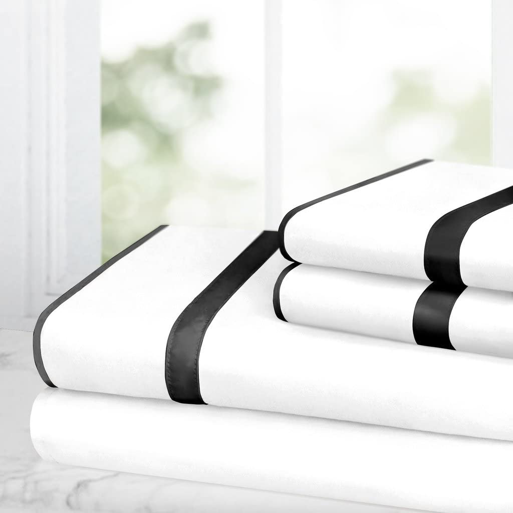 Italian Luxury Bed Sheet Set – 1500 Hotel Collection w/ Beautiful Satin Band Trim - Ultra Soft Wrinkle & Fade Resistant Microfiber, Hypoallergenic 4 Piece Set- Queen - White/Black