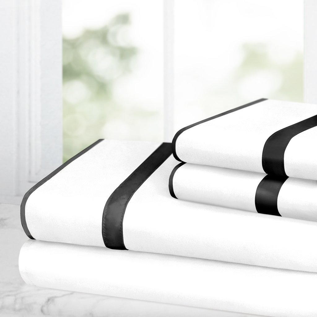 White//Black Italian Luxury RG-ILSATINSTRPSHT-K-WHY//BLK Ultra Soft Wrinkle /& Fade Resistant Microfiber Hypoallergenic 4 Piece Set- King 1500 Hotel Collection w// Beautiful Satin Band Trim Egyptian Luxury Bed Sheet Set
