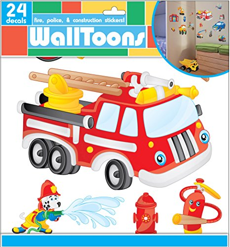 Edge Home Products Boys Walltoons Wall Sticker, Fire/Police/Construction