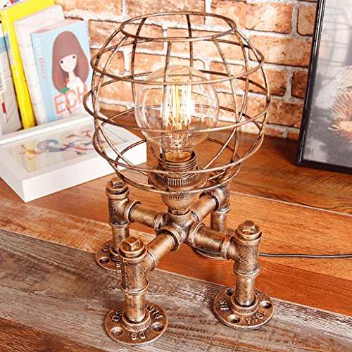 Vintage Edison Table Lamp Steampunk Dimming Table Light Rustic Water Pipe Style Bedside Desk Lamp for Home Study Room Bedroom Library Hotel Desktop Lights Football Light Base (Color : Retro Gold)