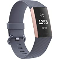 Fitbit Charge 3 fitness activity tracker, rose gold/blue/grey, one size (s & l bands included)
