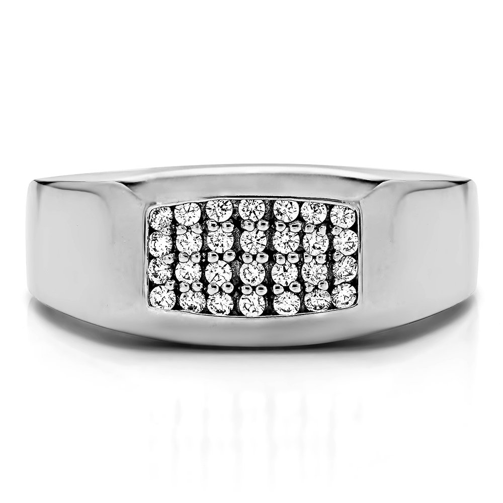 0.24Ct Sterling Silver Gents Wedding Ring Charles Colvard Moissanite Size 3 to 15 in 1//4 Size Intervals