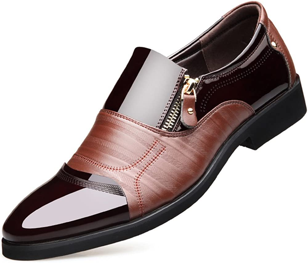 Men Business Dress Loafers Pointy Mens Shoes Oxford Breathable Formal Wedding Shoes Brown 9