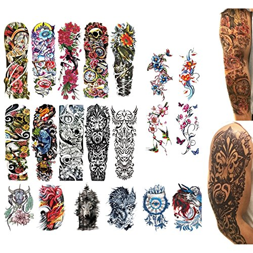 20 Fake Realistic Temporary Tattoos - BIG SIZE & FULL ARM - Most Complete Set With Large Forearm and Full Sleeve Designs