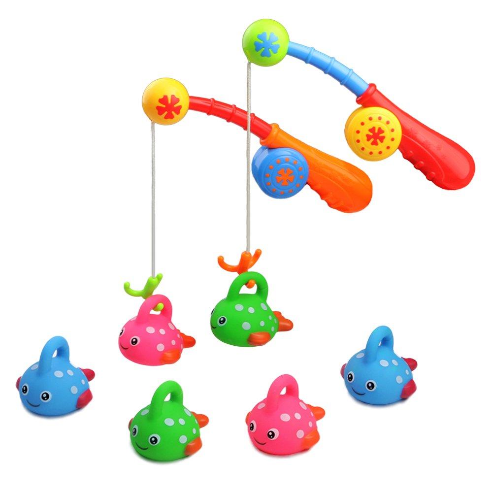 Wasserspielzeug Badespielzeug Badespielzeug Wasserspiel Angeln Badespaß Spielzeug Baby Spielzeug Badewannenspielzeug mit 6 Fische Spielzeug Gummi und 2 Kinder Angelrute Pädagogisches Spielzeug für Kinder Junge Mädchen Baby ab 18 Monate SUNLIKE FACTORY