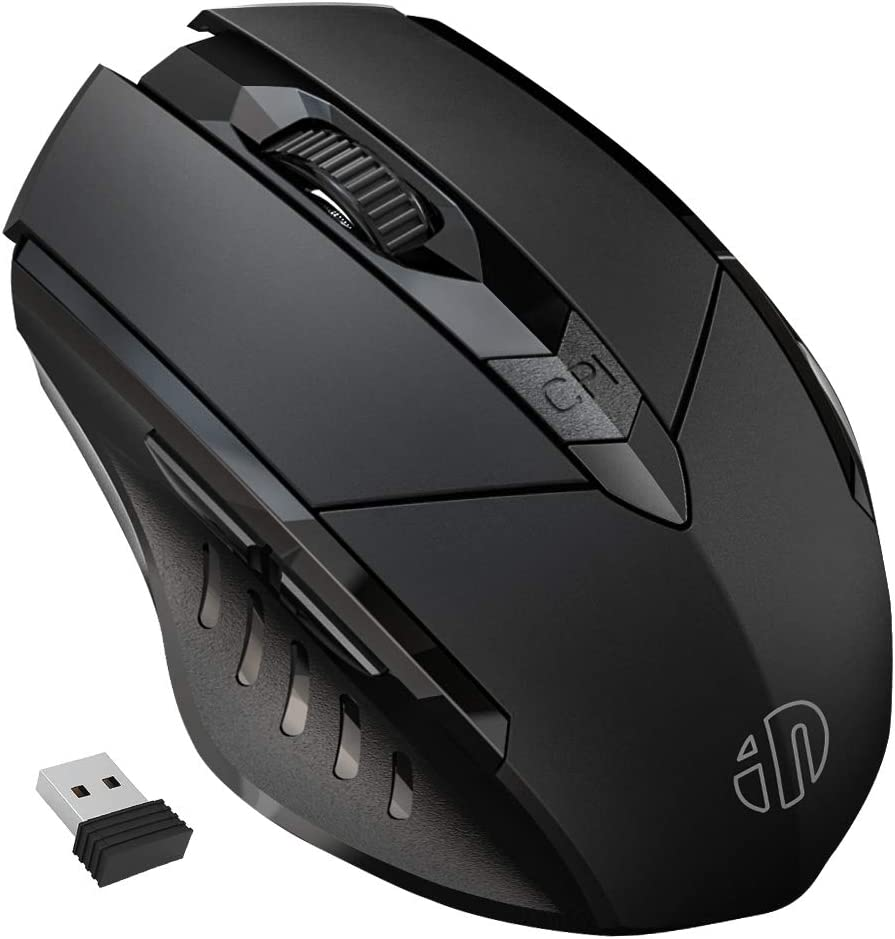 Wireless Mouse, inphic Large Ergonomic Rechargeable 2.4G Optical PC Laptop Cordless Mice with USB Nano Receiver, for Windows Computer Office, Black