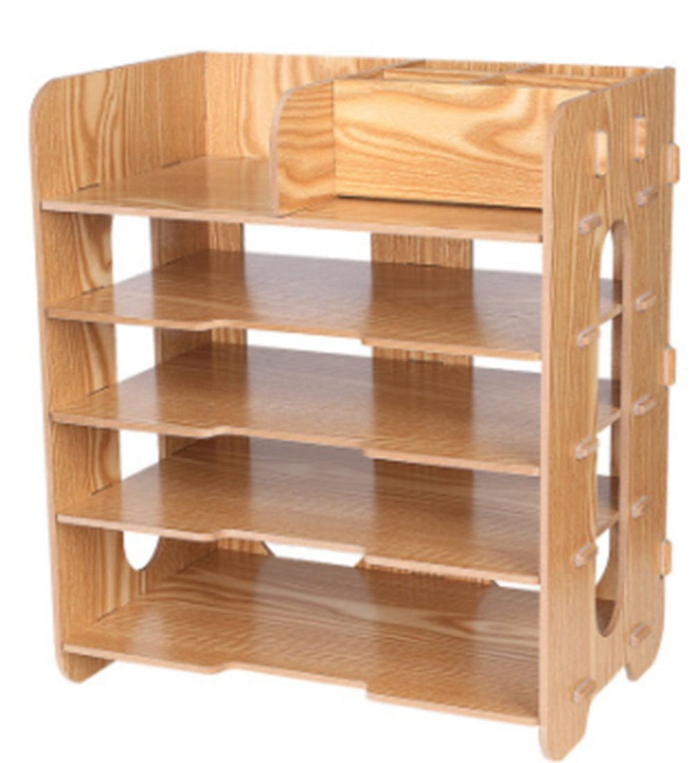 J-Bless, 5 Tier Wood Desktop Letter Tray Organizer/Paper Stacking Trays/Filing Organizer/Desk Organizer Tray/Paper Tray/Letter Sorter/Paper File Organizer Tray for Office & Home
