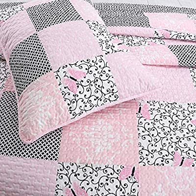Cozy Line Home Fashions Vivinna Baby Pink White Black Grid Flower Pattern Patchwork Cotton Bedding Quilt Set Coverlet Bedspreads for Kids Girls Women (Pink/Black, Full/Queen - 3 Piece): Home & Kitchen