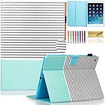 iPad Air Case, iPad 5 Case, Dteck(TM) Slim Fit Stand PU Leather Case [Colorful Painted] with Auto Wake/Sleep Feature Smart Cover for Apple iPad Air /iPad 5th Gen 2013 Model, Black Strpes Mint