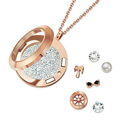 126a2efcd Mestige Jewellery Rose Gold Explorer Floating Charm Necklace with ...