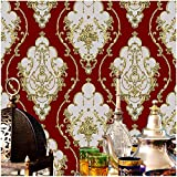 JZ26 Crimson Red Luxury Damask Wallpaper Rolls, Metal Lace Texture Embossed Victorian Wallpaper Bedroom Living Room Hotel Wall Decoration 20.8'x 31ft