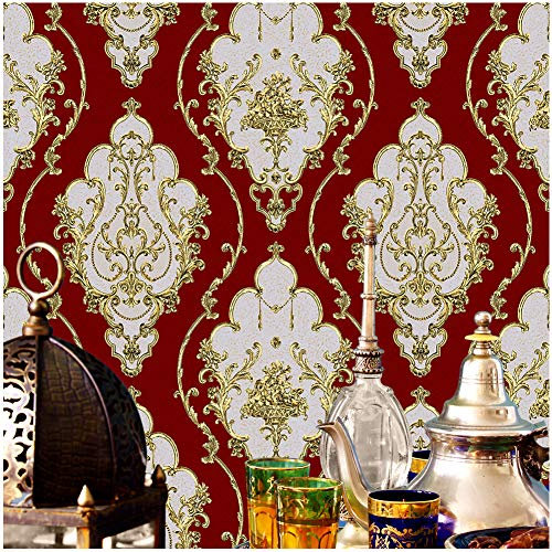 JZ26 Crimson Red Luxury Damask Wallpaper Rolls, Metal Lace Texture Embossed Victorian Wallpaper Bedroom Living Room Hotel Wall Decoration 20.8