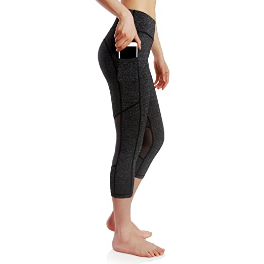 7080a95a33ebc Persit Yoga Pants for Women High Waisted Workout Mesh Leggings with Pockets  - Dark Grey -