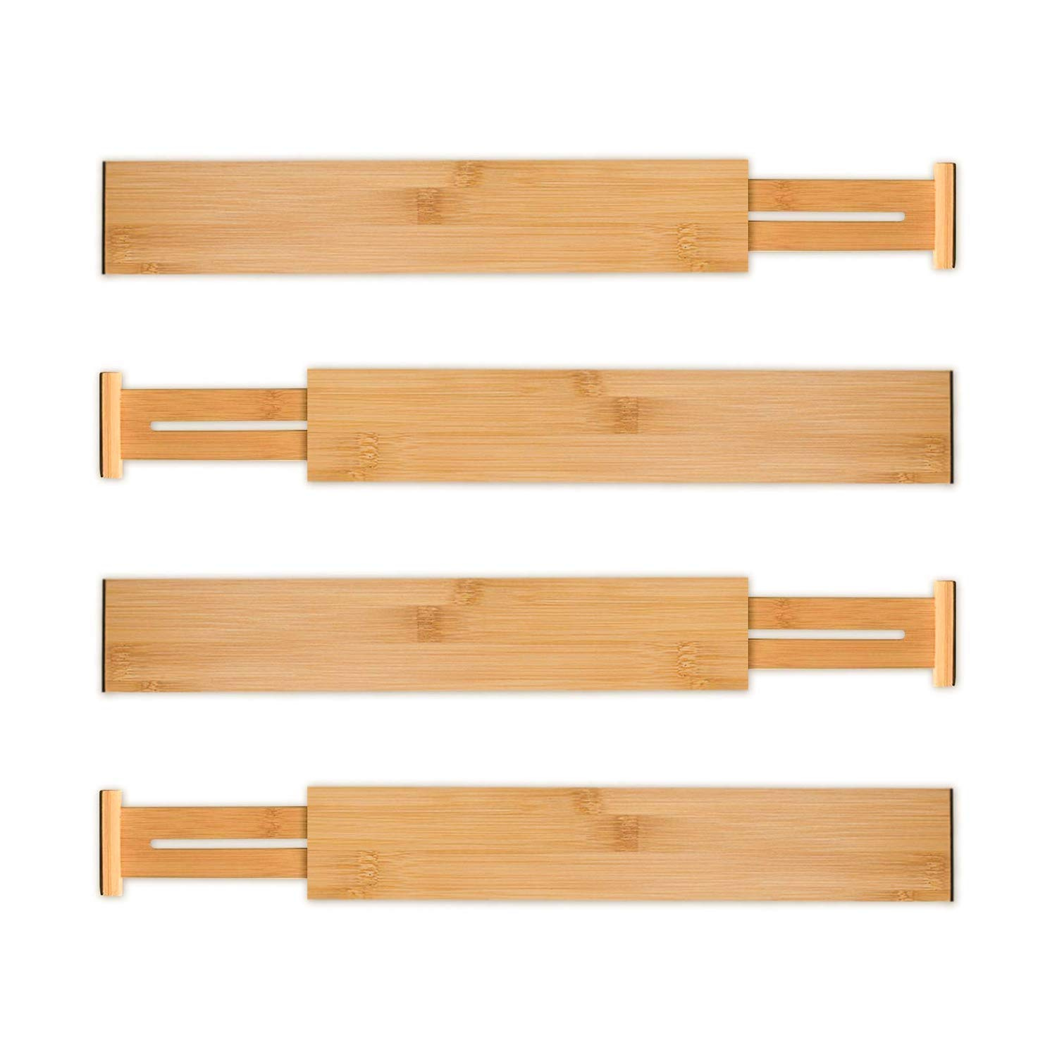 Utoplike 4 Pack Bamboo Kitchen Drawer Dividers(12-17.25IN),Adjustable Drawer Organizers,Spring Loaded,Works in Kitchen,Dresser,Bathroom,Bedroom,Baby Drawer,Desk