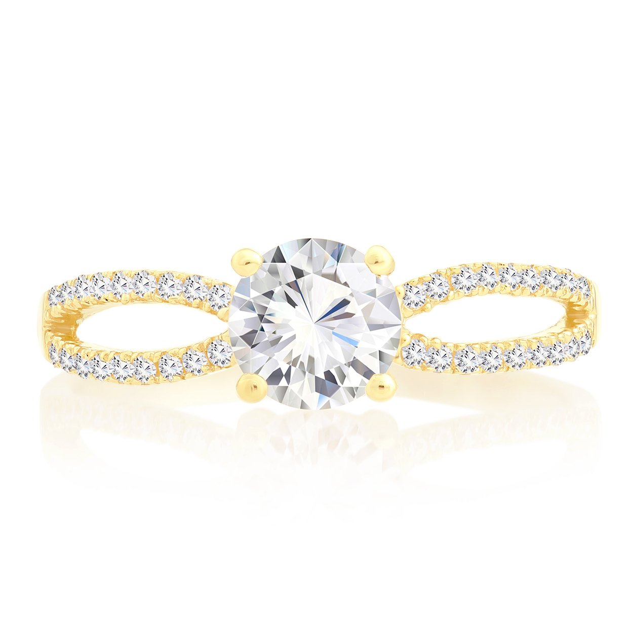 14k Gold Cubic Zirconia Engagement Ring (yellow-gold, 8)