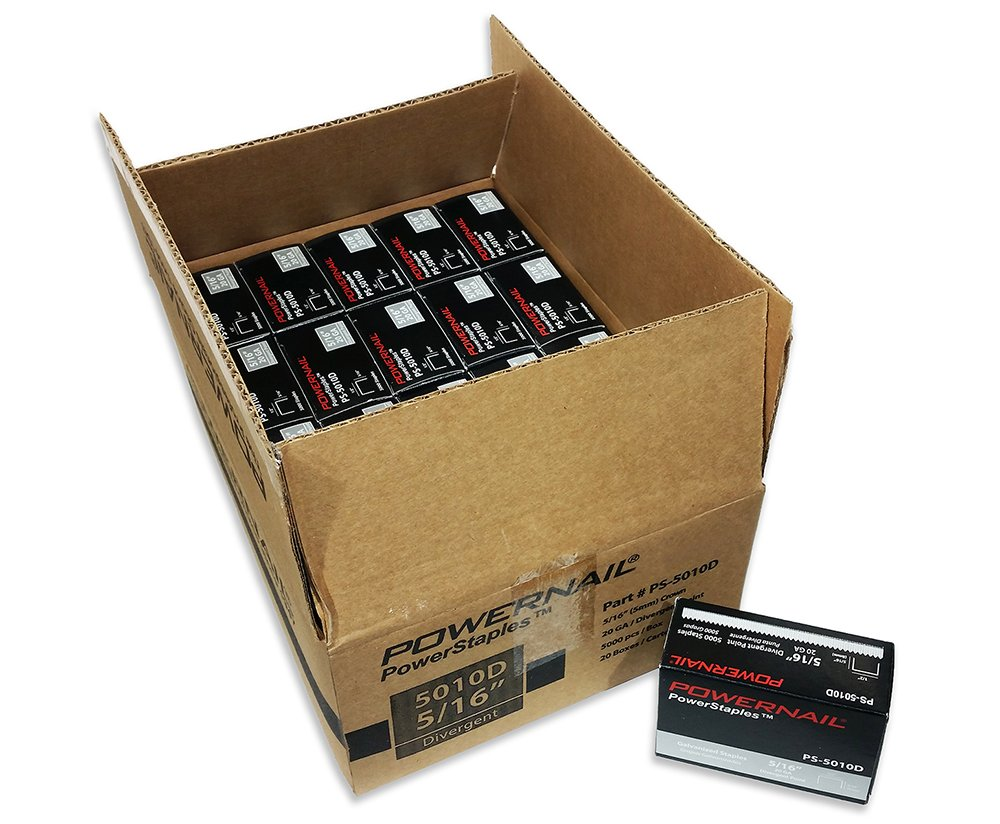 Powernail 20ga Divergent Point Staples, 1/2'' Crown, 5/16'' L(1 Case of 20-5,000 ct boxes) by Powernail (Image #1)
