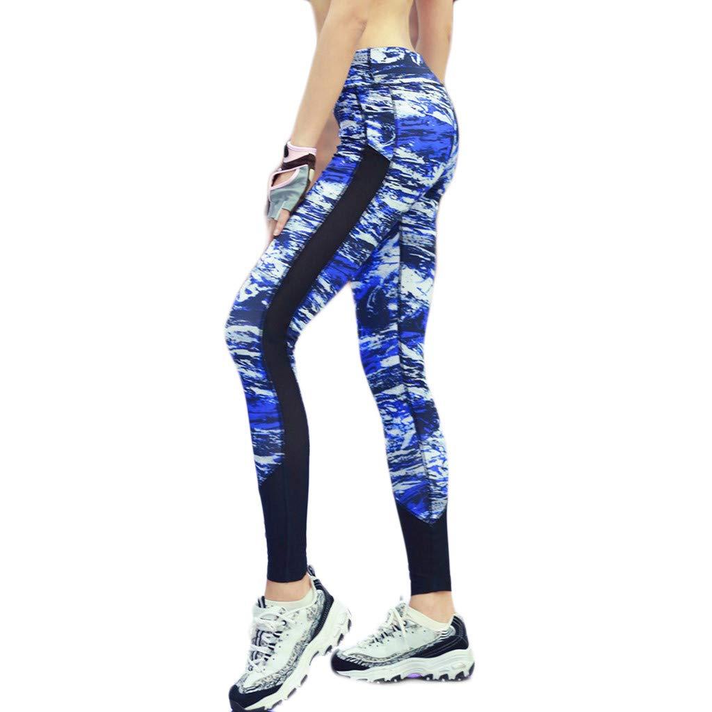 Sayhi Women's Digital Printed Yoga Sports Pants Ombre Seamless Leggings Tummy Control Workout Running Pants (Blue,L)