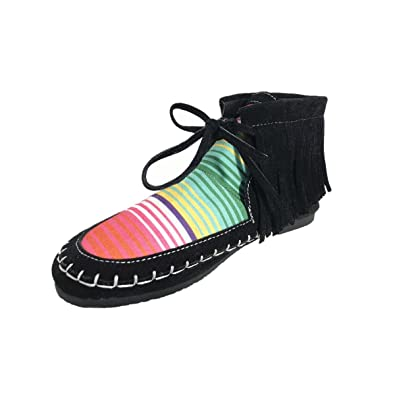 e10bfe1b3319 MONOBLANKS Women s Suede Serape Moccasin Boots Women Rainbow Shoes (6