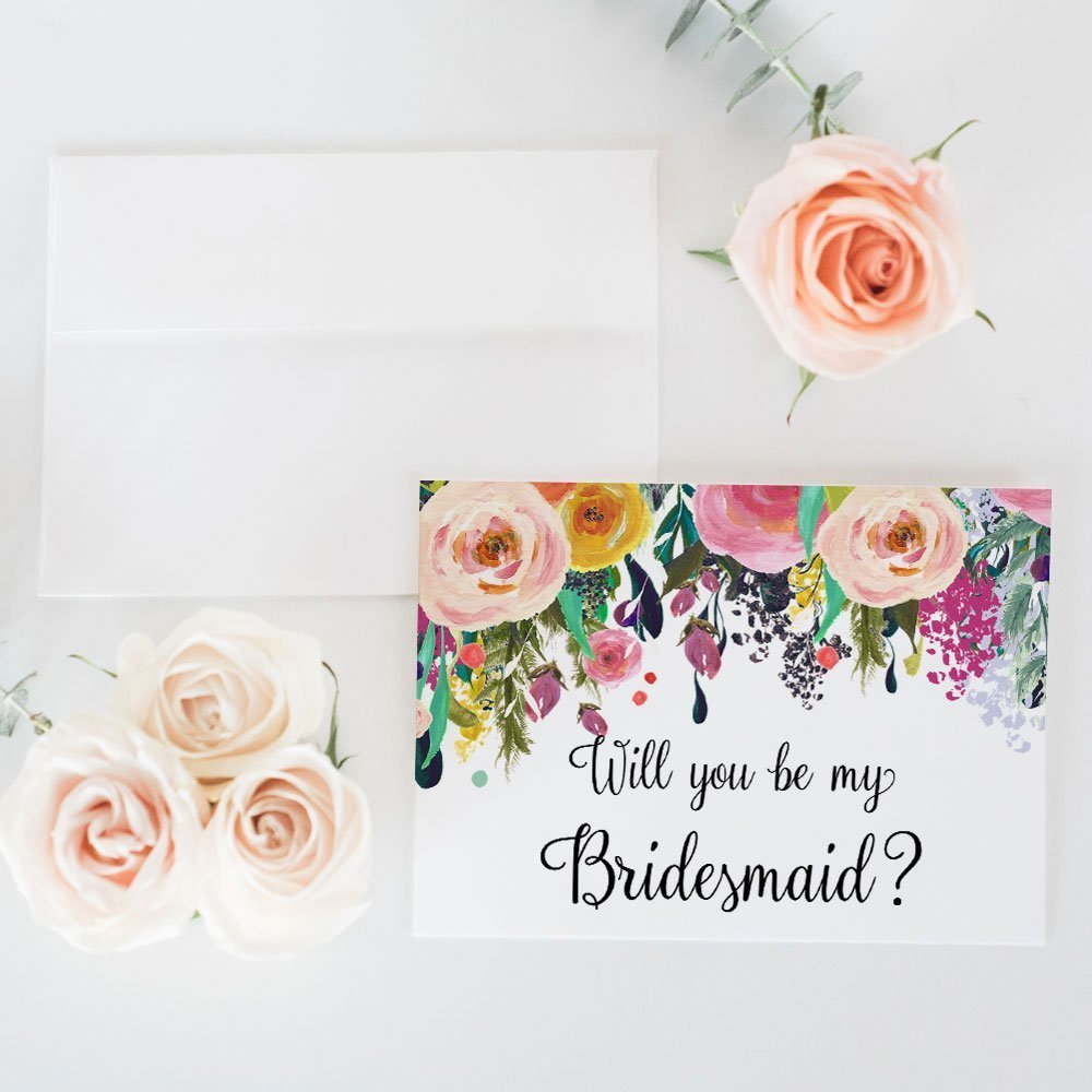 Will You Be My Bridesmaid Card, Wedding Party Proposal Card choose Maid of Honor, Flower Girl, Wedding Attendant - Size A1 Gift Cards WYB-SUB