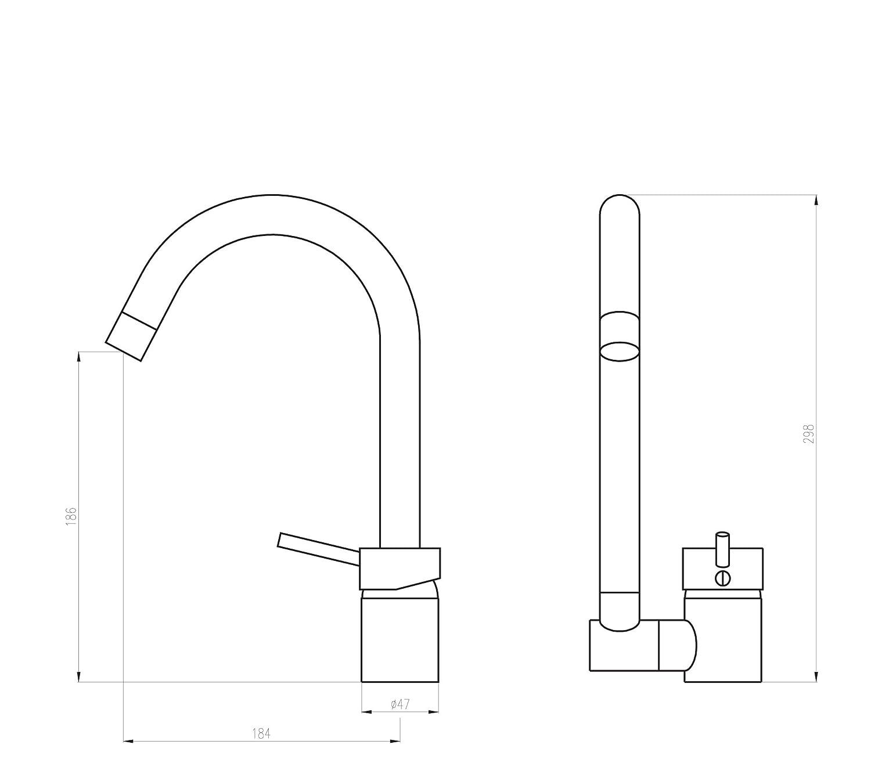DEANTE BCA/_061M Aster Sp/ülenarmatur mit Klappbarem U-Auslauf Chrom 26 x 40 cm Metall