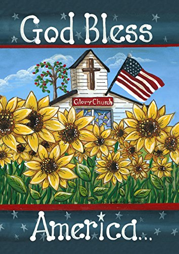 Toland Home Garden Glory Church 12.5 x 18 Inch Decorative Patriotic God Bless America USA Double Sided Garden Flag -