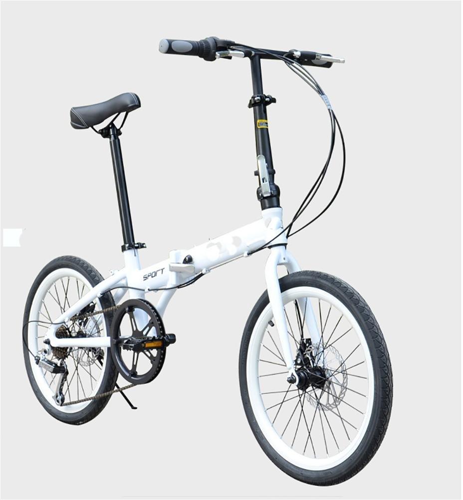 MASLEID De 20 pulgadas de aleación de bicicleta plegable de 6 velocidades de bicicleta bicicleta de carretera , white: Amazon.es: Deportes y aire libre