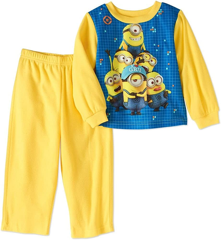 4T Despicable Me Boys Toddler I Love Gru Minions Flannel Pajama Set