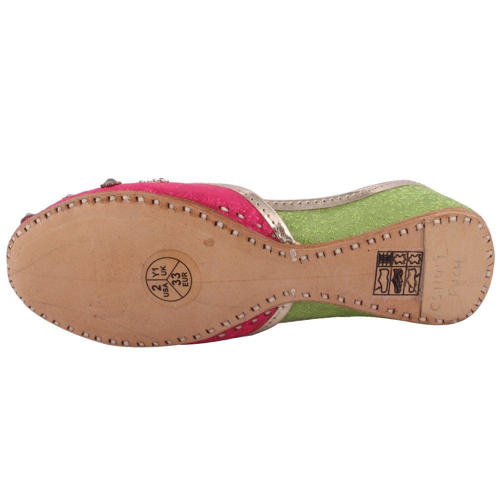 Unze ew Girls Traditional /'Empress/' Handmade Leather Flat Khussa Pump Slippers Kids Shoes LS-618 K