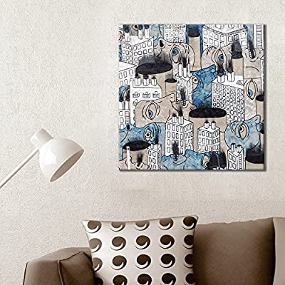 Quality Creation, Magnificent Expertise, Square Abstract City Painting with Human Faces Among Buildings