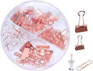 Rose Gold Dovetail Binder Clip & Push Pins & Paper Clips Set with Clear Box Desk Orgnizer for Office, School and Home