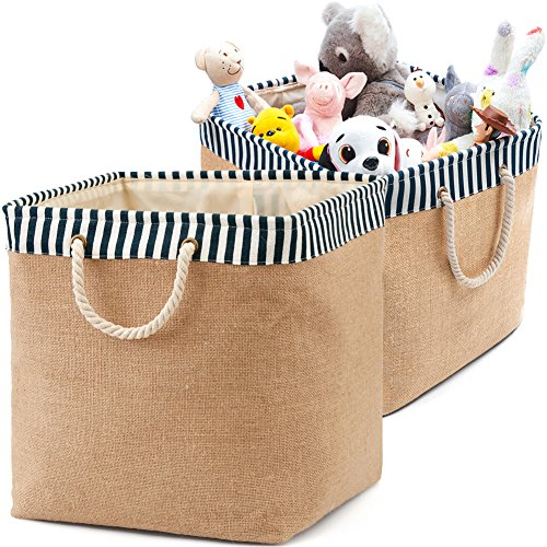 2-Pack Toy Canvas Storage Basket Organizer, EZOWare Collapsible Laundry Hamper Bucket Burlap Bin For Nursery, Baby, Office, Bedroom, Closet, Laundry & More - with Blue and White Trim Medium
