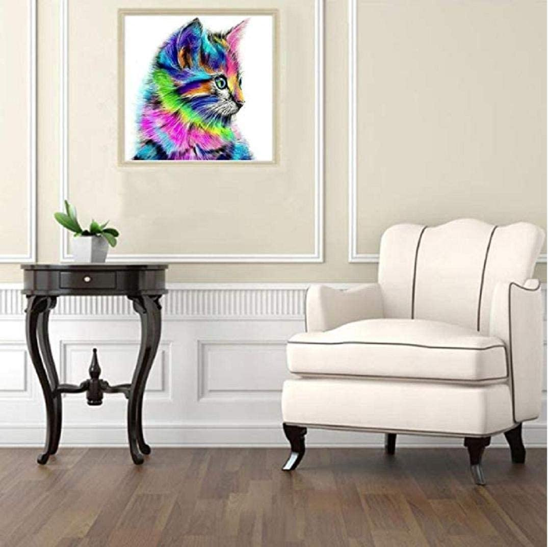 TOPOB DIY 5D pintura de diamantes, flores de gato coloreadas con ...