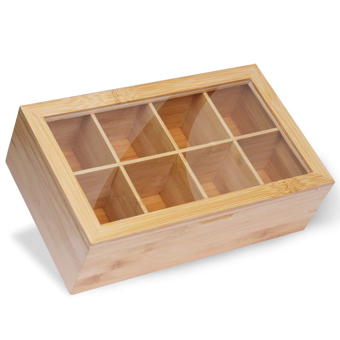 Ecbanli Bamboo Tea Box, Tea Bag Organizer with 8 Deeper Compartments, Natural Wooden Finish by ECBANLI