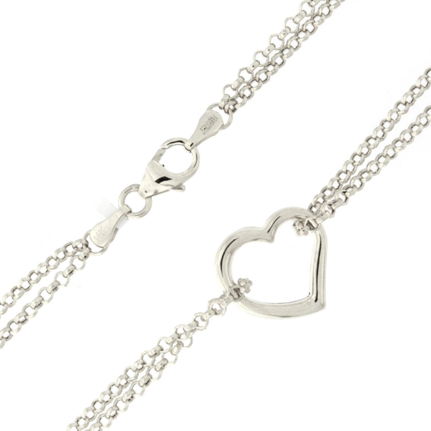 14k White Gold Double Chain Heart Anklet - 10''